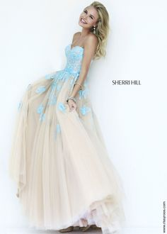 Sherri Hill 11200 Elegant Lace Ball Gown in Light Blue and Nude Tulle - RissyRoos.com
