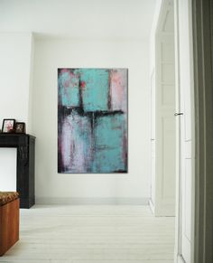 Turquoise blue fields of dreams Acrylic painting by RonaldHunter, $389.00