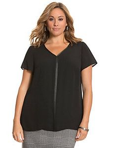 Woven tee with faux leather trim