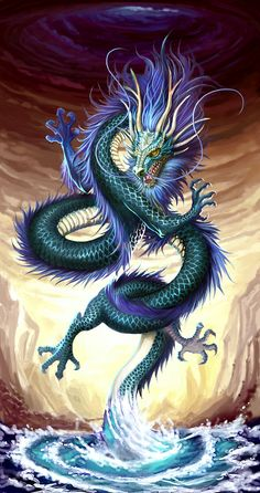 龙原画 Chinese dragon or Japan dragon can't tell the difference.