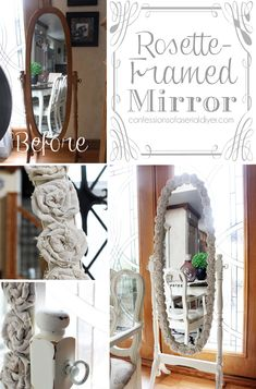 Rosette Framed Mirror made with drop cloth rosettes - Shabby Chic Home Crafts, Diy Home Decor, Diy Crafts, Decor Crafts, Furniture Makeover, Diy Furniture, Ideias Diy, Diy Craft Projects, Craft Ideas