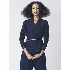 This dark blue jacket by Marianne Fassler adds a modern and tailored look to elegant dressing. It is detailed with exposed seams, a front tie and is a suitable choice for both in and out of office. African Design, Separates, Elegant Dresses, Frocks, Indigo, Dark Blue, Ready To Wear, Wrap Dress, Women Wear