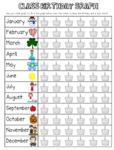 Here's a graph for charting class birthdays. Have the kids complete it as a class discovery activity.Here's a graph for charting class birthdays. Have the kids complete it as a class discovery activity. Preschool Math, Fun Math, Teaching Math, Math Activities, Maths, Kindergarten Classroom, School Classroom, School Fun, Classroom Birthday