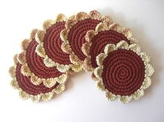 Terracotta and Cream Mix Flowers Coasters . Wood Coffee Tea Earth Brown Cinnamon Beverage Decor Crochet Daisy Collection - Set of 6