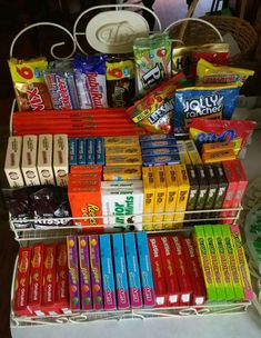 Candy for my outdoor movie party. Found rack at my local antique store. - Candy for my outdoor movie party. Found rack at my local antique store. Teen Party Themes, Tween Party Games, Sleepover Birthday Parties, Birthday Party For Teens, Birthday Party Games, Ideas Party, Teen Parties, Sleepover Party Ideas For Girls Tween, Party Ideas For Teenagers