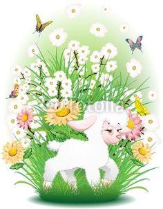Cute Easter Sheep Background-Vector © bluedarkat