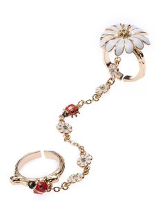 Ladybugs and Daisies Chain Rings by Disaya on Guruwan.com | Ladybugs and Daisies Chain RingsMaterial: Gold Plated Brass, Solid Enamel and Swarovski Crystal