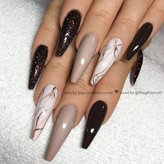 ✨ Dark Brown, Taupe, Ivory and Glitter on long Coffin Nails 👌 • 💅 Nail Artist @jacquelines.corner 💝 Follow her for more gorgeous nail art…