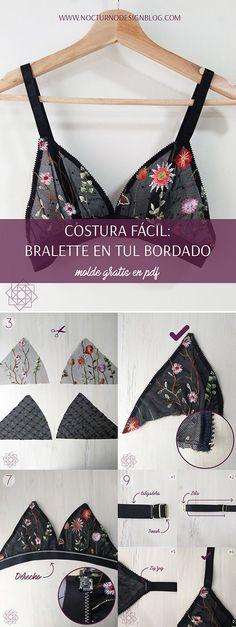 DIY Bralette en tul bordado. Tutorial paso a paso + molde gratis en pdf. DIY Lace bralette. DIY Bralette pattern.