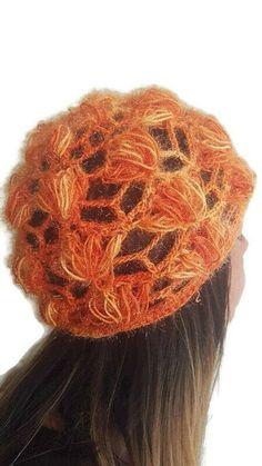 Orange mesh skull cap crocheted with acrylic yarn after my own pattern Ready to be shipped Thank you for visiting my shop Unique Crochet, Crochet Lace, Tribal Fashion, Retro Fashion, Hippie Lifestyle, Slouchy Hat, Halloween Accessories, Blue Pearl, Cute Earrings
