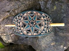 Turquoise cherokee star hand carved hair barrette Leather Carving, Leather Tooling, Peace Sign Hand, Handmade Items, Handmade Accessories, Etsy Handmade, Handmade Gifts, Hair Sticks, Star Designs