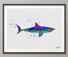 Shark Watercolor shark illustration shark Art Print Wall Gift Poster Giclee Wall Decor shark Art Home Decor Wall Hanging A008 by ZenioArt on Etsy https://www.etsy.com/listing/215153441/shark-watercolor-shark-illustration