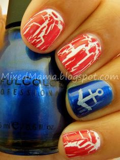4th Of July Nails Maybe without the anchor....