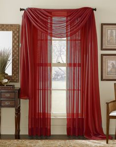 Red Sheer Curtain Scarf