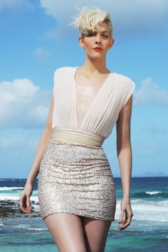 peach and gold sequin dress - Google Search