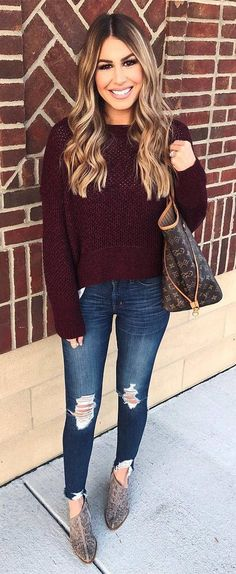 how to wear rips : maroon sweater bag boots