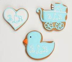 Baby Boy Shower - Monogrammed cookies