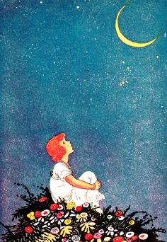"""Art by Johnny Gruelle (1916), """"Moon Wishes"""" from the book RHYMES FOR KINDLY CHILDREN. (flowers and sky)"""