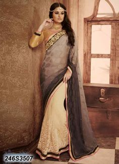 Breezy Beige Coloured Faux Georgette Embroidered Saree