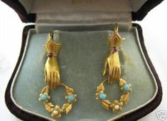 VICTORIAN WREATH IN HAND EARRINGS, high karat gold, pearls, garnet and turquoise. Lovely.
