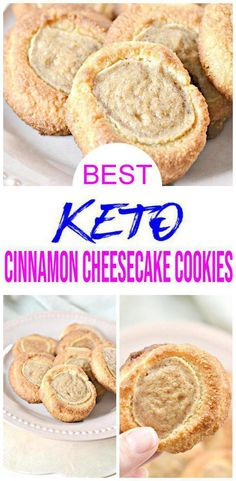{Keto Cookies} Easy simple ingredient Cinnamon Cheesecake cookies you will want to check out! Quick & simple ingredient ketogenic diet cookies make for a easy keto breakfast, keto snack or keto dessert. Keto Cookies, Cookies Receta, Cheesecake Cookies, Keto Cheesecake, Homemade Cookies, Mini Cookies, Cookies Kids, Homemade Cheesecake, Shortbread Cookies