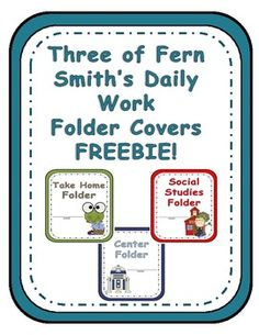 FREE Three of Fern Smith's Elementary Work Folders / Daily Folder Covers $0