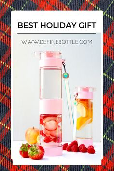 The best infusion bottle for the holidays. Simply place fruits or herbs in the lower compartment, and fill the bottle with water. The built-in strainer keeps pulp from clogging the spout, and the re-freezable base keeps things ice cold. The bottle is the perfect size to fit your car's cup holder, and the carrying strap keeps it accessible when you're on the run. The bottle is made from a specially formulated plastic that is odorless, tasteless, and stain-resistant.