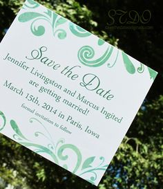 Pretty green version of the MR70 wedding save the date magnet design. 4x3.5 inches.