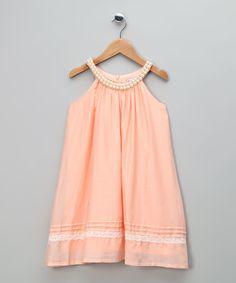 Peach Lace Silk-Blend Yoke Dress - Toddler & Girls