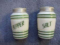 Hazel Atlas Beehive Milk Glass Depression Era Salt and Pepper Shakers