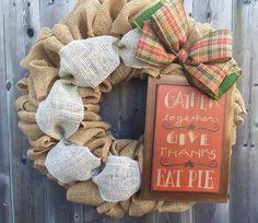 Fall Burlap Wreath, Autumn Wreath, Give Thanks Wreath, Burlap Wreath, Rustic…