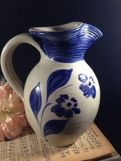 Williamsburg Pottery Pitcher with Cobalt Blue Flowers Virginia Stoneware Pottery Jug or Vase Salt Glazed  Primitive Collectible Pottery by ThePokeyPoodle on Etsy