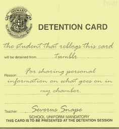 Detention from Severus Snape