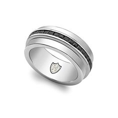 Hoxton London Mens Jewellery Sterling Silver Stone Black CZ Spinning Ring  Price…
