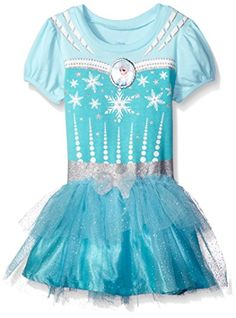 Disney Toddler Girls Frozen Dress with Glitter Tulle and Bow Blue 2T >>> Want additional info? Click on the image.