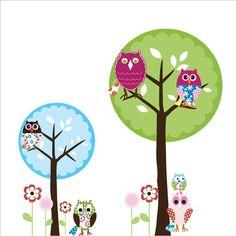 2 Circle Trees Owls Birds Butterflies Vinyl Wall door wallartdesign