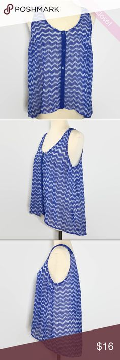 Candies Blue/White Chevron Sheer Tank Top L Like New  Candies Blue/White Chevron Sheer Buttons Down High Low Tank Top   Bust 34'  100% Polyester Candie's Tops Tank Tops