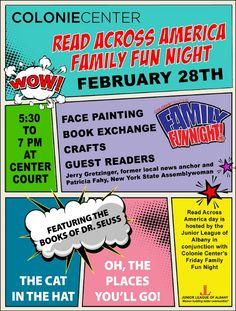 Family Fun Night: Read Across America at Colonie Center, Center Court l Feb 28, 2014 l 5:30-7pm