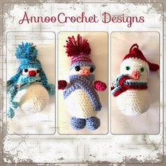 Annoo's Crochet World: Trio of Snow Men Ornaments Free Pattern