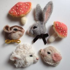 The Rabbit, mushrooms and squirrel for Monique's wall! <3