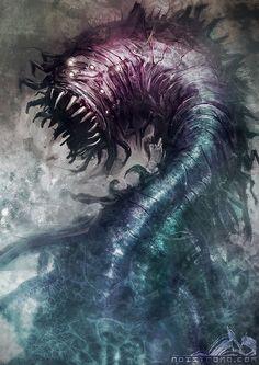 Destroyer Worm by ~noistromo on deviantART    Neat looking critter. Sort of biologic, sort of mechanistic. Sort of very dangerous looking.