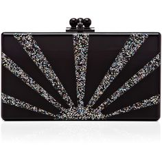 Edie Parker Black Acrylic Jean Clutch With Silver Glitter Sunburst ($1,295) ❤ liked on Polyvore featuring bags, handbags, clutches, glitter purse, art deco purse, lucite handbag, silver clutches and edie parker handbags