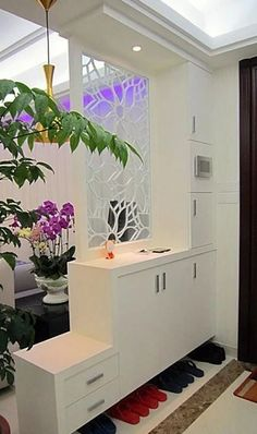 Room Divider Ideas and Partition Design as Element of Decoration Art Home Design Ideas Living Room Divider, Living Room Decor, Living Rooms, Decor Room, Shoe Rack Living Room, House Rooms, Apartment Interior, Apartment Living, Apartment Design