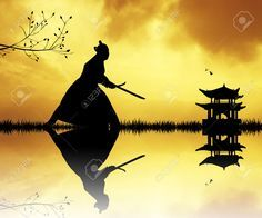 martial arts weapons: Samurai silhouette at sunset