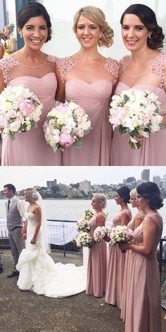 blush pink long bridesmaid dress, 2016 long bridesmaid dress, wedding party dress, cheap bridesmaid dress
