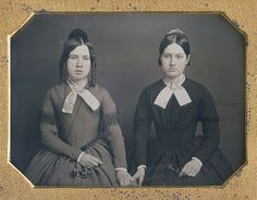 "daguerreotypeimages: ""ABBY WHIPPLE & … Sarah (Whipple) Stone"" was typewritten on a piece of paper that accompanies their marvelous resealed half plate daguerreotype (via Dennis A. Victorian Photography, Old Photography, Portrait Photography, Antique Photos, Old Photos, Vintage Photos, Victorian Portraits, Ladies Day Dresses, Romantic Period"