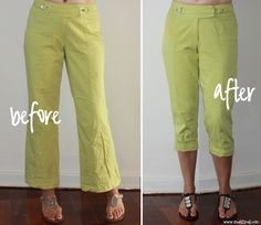meggipeg: Refashion flared pants into skinny cuffed capris - a tutorial.  (Correct URL)