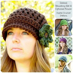 Crochet Pattern, Ribbed Newsboy Hat Pattern with Optional Flower