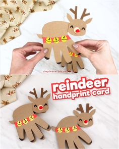 Make Mom and Dad a sentimental Christmas card when you create this cute and easy handprint reindeer card! It's a simple paper craft for kids that they'll have fun making. Perfect for home or school! Easy Paper Crafts, Paper Crafts For Kids, Christmas Crafts For Kids, Christmas Activities, Craft Activities, Paper Crafting, Holiday Crafts, Winter Preschool Crafts, Christmas Handprint Crafts