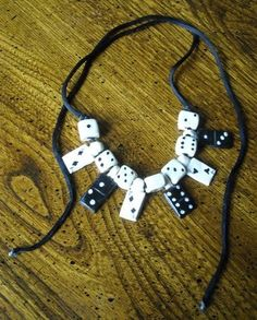 Wooden Domino Beads With Dice And Cards Choker on Cord Free Shipping Price:US $8.99